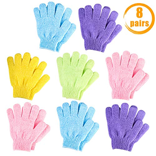 QUACOWW 8 Pairs Exfoliating Gloves Bath Scrub Mitts Body Scrubber Gloves Double Sided Bath Gloves for Shower Body Spa Massage Dead Skin Cell Remover (5 Colors)
