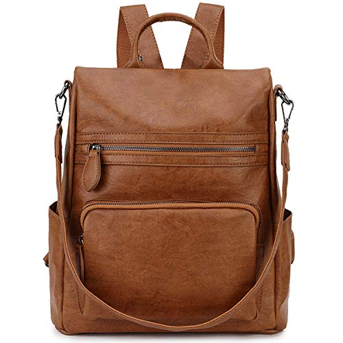 RAVUO Anti-theft Backpack,Fashion PU Leather Backpack for Women Ladies Rucksack Shoulder School Bag, M, Brown