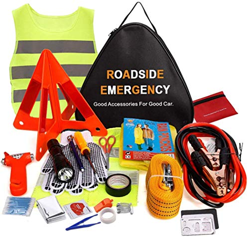 Car Emergency Kit, 76 in 1 Multifunctional Roadside Assistance Car Breakdown Kit with Jumper Cables, Tow Rope, Triangle, Flashlight, Safety Hammer, etc