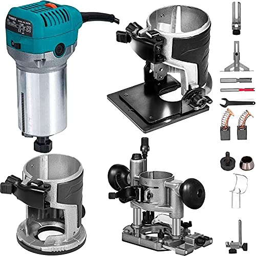 FlowerW Soft Start Wood Compact Router Kit Variable Speed 10000-30000Rpm with 2 Durability Plunge Base 710W