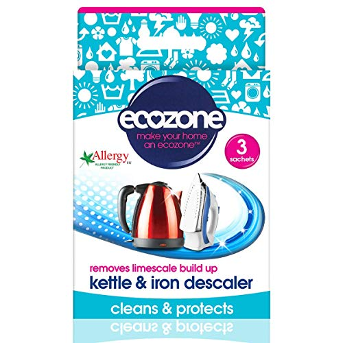 Ecozone Kettle & Iron Descaler   Easy Sachets   Powerful Limescale Removal, 3 Uses, Citric Acid, 3 Count (Pack of 1)