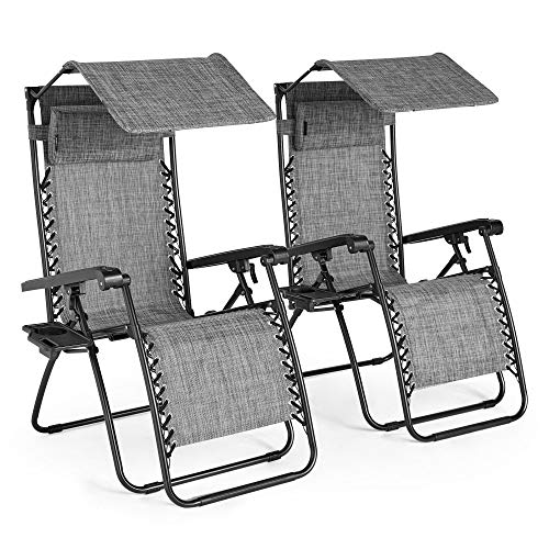 VonHaus Set of 2 Heavy Duty Textoline Zero Gravity Chairs with Canopy - Garden Outdoor Patio Sun Loungers with Shade Chairs and Drinks Holder Folding Reclining Deck Chairs