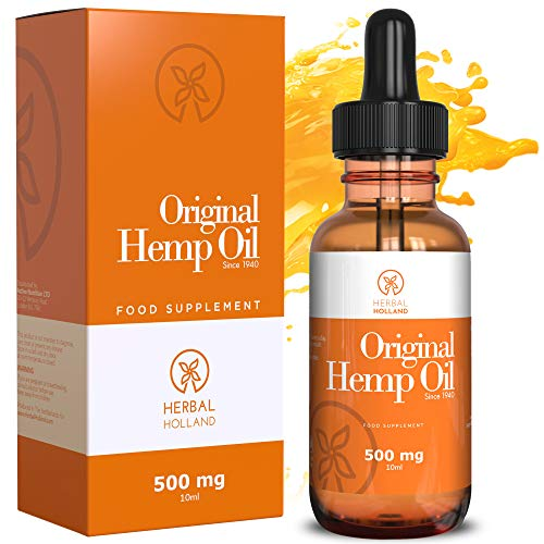 Hemp Oil Drops For Pain & Anxiety Relief By Herbal Holland - 100% Natural, High Strength Edible Hemp Oil for Sleep, Stress, Energy, Focus, Skin, Joint Support - 3rd Party Tested, Vegan Hemp Oil (10ml)