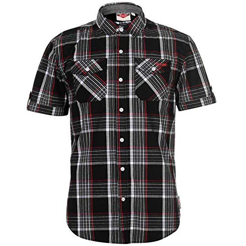 Lee Cooper Mens Chest Pockets Short Sleeve Checked Cotton Shirt Top (Large, Black/White/Red)