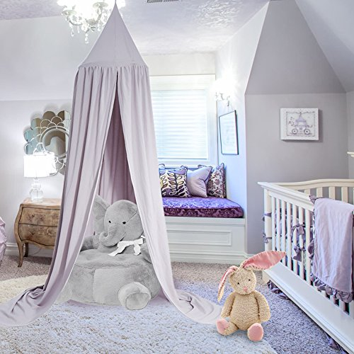 Yosoo Princess Dome Kids Canopy Bed - Easy to Hang - Cotton Children Room Play Tent Curtains Baby Mosquito Netting for Indoor Outdoor Playing Reading Height 2.4M with Dreamcatcher Decoration (Grey)