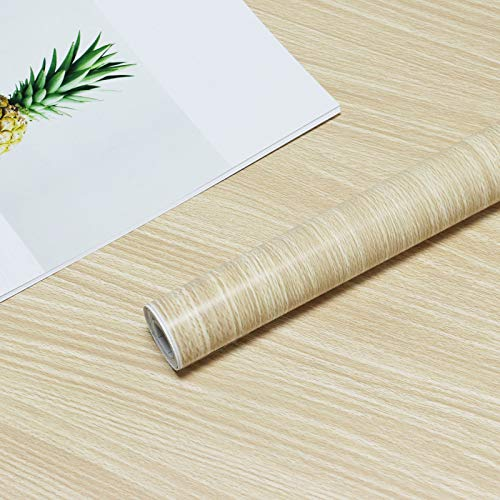Wood Grain Wallpaper Self-Adhesive Wood Wallpaper Yellow Panel Peel and Stick Removable Faux Wood Contact Paper Wallpaper for Cabinets Shelves Drawers Kitchen Vinyl Film Decorative Roll 45x300cm