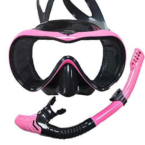 ACRIAL Snorkel Set Anti-Fog Snorkeling Diving Mask, Panoramic Wide View Diving Goggle, with Upgraded Free Breathing Tubes and Professional Snorkelling Gear Anti-Leak Dry Top Snorkel for Adult