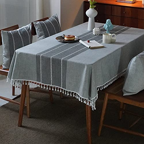 Mokani Washable Cotton Linen Table Cloth Stitching Tassel Design Tablecloth, Rectangle Table Cover Great for Kitchen Dinning Tabletop Buffet Decoration (55 x55 Inch, Gray)