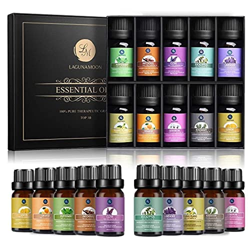 Lagunamoon Essential Oil for Diffusers for Home, 10 Aromas of Aromatherapy Essential Oils Gift Set, 100% Pure Premium Therapeutic Grade Oils kit, Lavender, Peppermint, Eucalyptus, 10ml