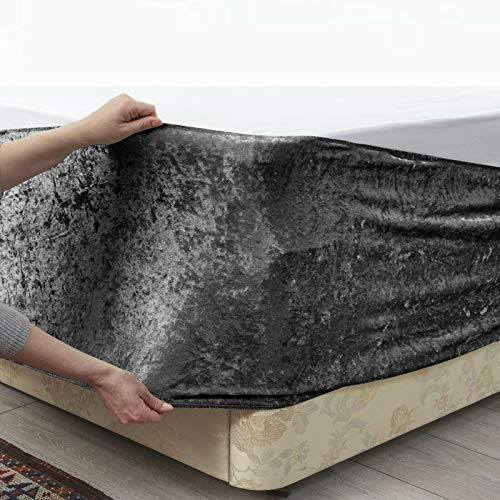 viceroy bedding BED WRAP Crushed Velvet Divan Bed Base COVER Alternative to Valance Sheet Skirt Elasticated Easy To Fit - Wraps Itself Around The Base Of Your Bed (Charcoal Dark Grey, 5ft King)