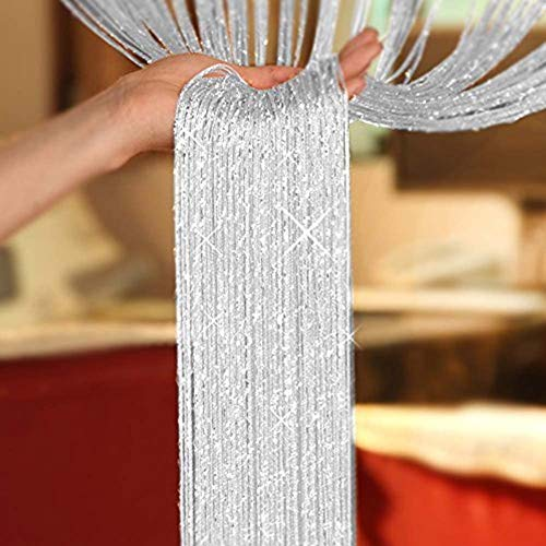 AIZESI Glitter String Door Curtains Panel, Fly Screen Curtain,Doorways Divider for Window Decorative 90x200cm (White)