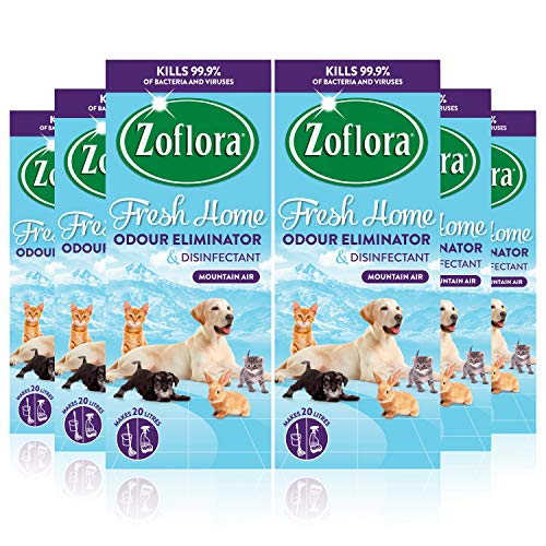 Zoflora Fresh Home, Mountain Air 6 x 500ml, Concentrated Disinfectant, All Purpose Cleaner, Eliminate Pet Odours, Kills 99.9% of Bacteria and Viruses