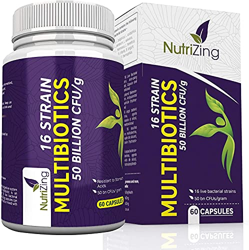 BioCultures Complex - 16 Live Strains with 50 Billion CFU Source Powder - Vegan Time Release Capsules - with Lactobacillus Acidophilus and Bifidobacterium - Made in UK by NutriZing
