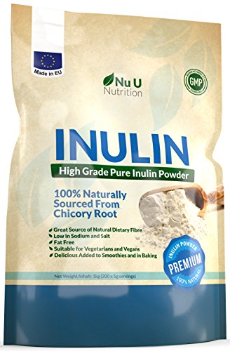 Inulin High Grade Prebiotic Fibre Powder 1kg | Made in EU from All Natural Chicory Root (Fructo Oligo Saccharide (FOC)) | in Resealable Pouch by Nu U Nutrition