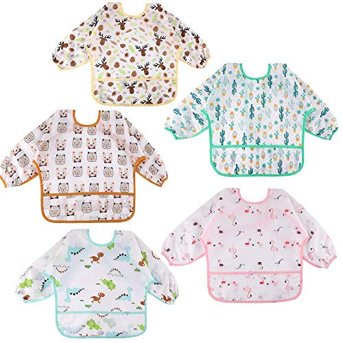 Lictin Baby Bibs with Sleeves - 5 Pieces Unisex Feeding Bibs Anti-Dressing Bibs Baby Drool Bibs Painting Apron Bibs for Infant Toddler 0 Months to 2 Years Old