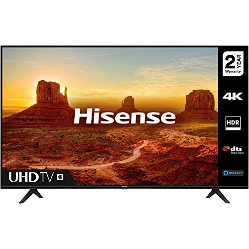 HISENSE 50A7100FTUK 50-inch 4K UHD HDR Smart TV with Freeview play, and Alexa Built-in (2020 series), Black