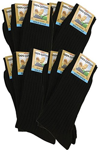 12 Pairs Men's 100% Pure Cotton Ribbed Socks allow your feet to breathe and absorb. (Black)(Size: UK 6/11 eur 39/45)