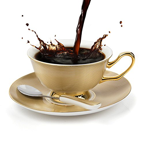 TouchLife Bone China Teacups/Coffee Cups & Saucers Sets with Spoons-6.7Oz, for Home, Restaurants, Display & Holiday Gift for Family or Friends,Golden