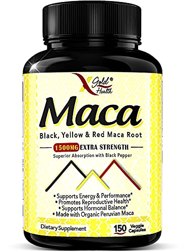 Maca Root Powder Capsules Black, Red, Yellow - 150 Vegan Pills - 1500mg Strongest Peruvian Maca Gelatinized for Energy, Performance, Mood for Men and Women w/Black Pepper for Best Benefits
