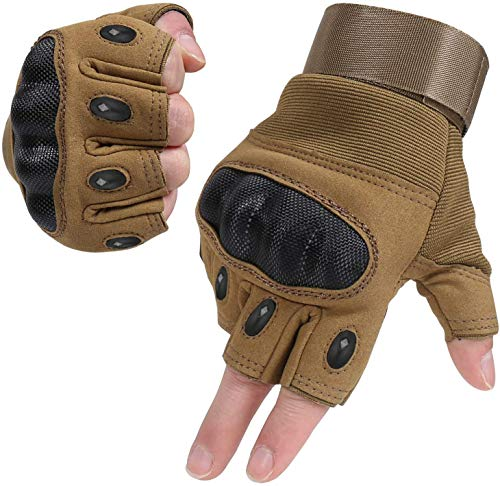 HIKEMAN Half Finger Gloves for Men and Women Touch Screen Hard Knuckle Gloves for Outdoor Sports and Work Suitable for Cycling Motorcycle Hiking Climbing Lumbering Heavy Industry(Half Khaki,m)