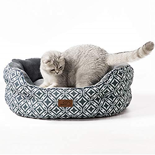 BEDSURE Small Dog Bed Washable - Round Waterproof Cat Sofa Bed With Nonskid Bottom for Indoor Cat and Puppy, Grey, 64x53x23cm