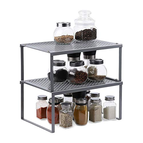 Shelf Insert in Kitchen Cupboard Expandable Stackable Organizer in Cabinet Counter-Tops Storage Space Solution for Spices,Jars,Herbs (Silver)