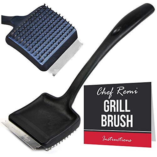 Chef Remi BBQ Grill Cleaning Brush -2 Yr Warranty-Heavy Duty With Wire Bristles & Stainless Steel Scraper To Clean BBQs Efficiently. Long 35cm Nylon Handle