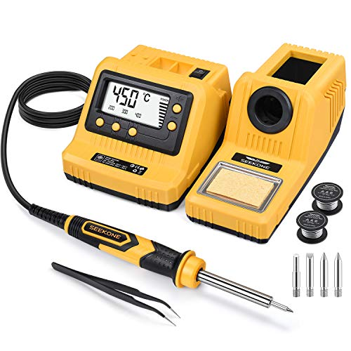 SEEKONE Soldering Station, 60W Solder Iron Station Kit with Digital LCD Display Adjustable Temperature 200℃-450℃ Standby Function 4 Solder Tips and 2 Solder Coils for Welding