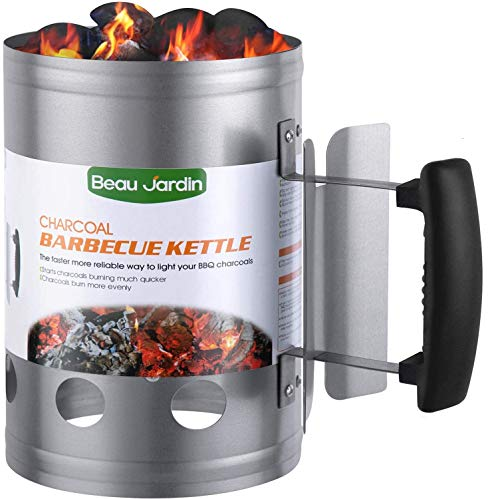 BEAU JARDIN Charcoal Chimney Starter Grill Can Barbecue BBQ Galvanized Steel Chimney Lighter Basket Outdoor Cooking Quick Rapid Fire Briquette for Grilling Camping Accessories 17.7 x 28cm/7x 11in