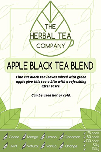Lungwort Green Apple Black Tea Blend Tea Bags Organic with Natural Flavour 25 Pack