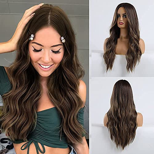 HAIRCUBE Brown Wig Middle Parting Long Curly Women's Wigs 24 Inch Wigs for Women Natural Looking Synthetic Wigs