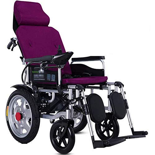 FC-LY Heavy Duty Electric Wheelchair with Headrest, Folding and Lightweight Portable Powerchair, Seat Width 45Cm,Adjustable Backrest and Pedal Angle,360° Joystick,for The Elderly Disabled