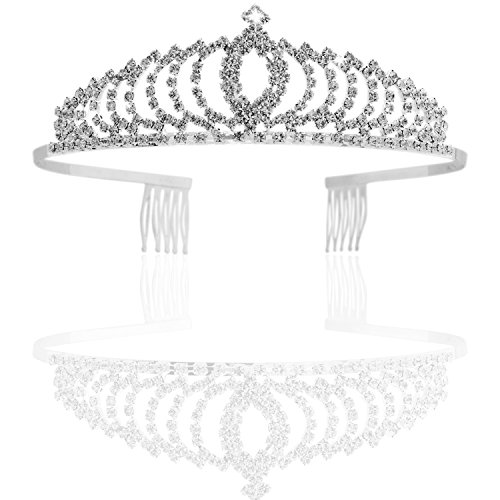 Vofler Crystal Tiara Crown Headband Headpiece Rhinestone Hair Jewelry Decor for Women Ladies Little Girls Bridal Bride Princess Birthday Wedding Pageant Prom Party with Combs Pin Silver