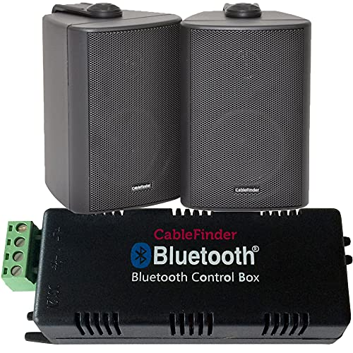Wireless/Bluetooth Amplifier & 2x 60W Black Pair Wall Mounted Speaker Kit –HiFi Active Amp – Stream Audio Quality Background Music Home System