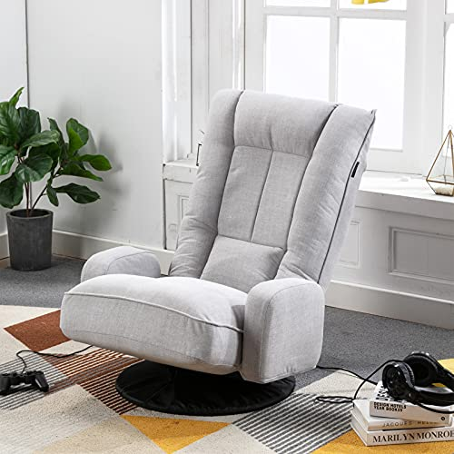 Artechworks Linen Folding Sofa Chair 360° Swivel Floor Gaming Lazy Sofa Chair with Arms,6-Position Adjustable Leisure Recliner Lounge Chair for Reading,Gaming,Living Room,Bedroom,Office,Grey
