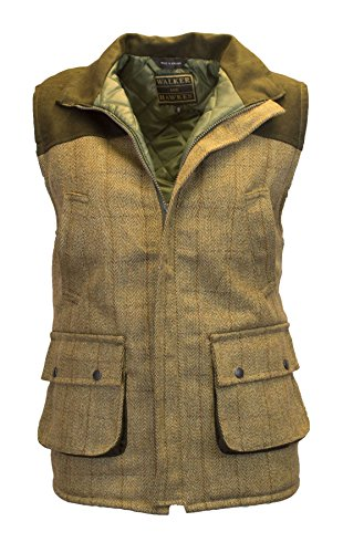 Walker & Hawkes - Mens Tweed Shooting Waistcoat Country Gilet with Shoulder Patch - Light Sage S