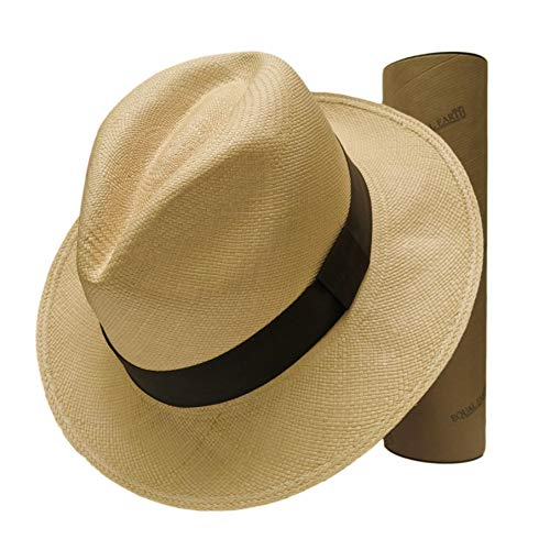 Equal Earth New Genuine Panama Hat Rolling Folding Quality with Travel Tube - Natural (59cm)