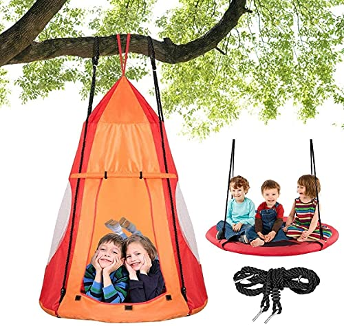 COSTWAY Kids Nest Swing with Detachable Play Tent, Height Adjustable Rope, Children Pod Hanging Chair Swing Play House for Indoor Outdoor (Orange)