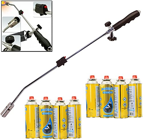 Butane Weed Gas Burner Wand Blowtorch Garden Torch Weeds Killer Burner With 8 Gas Refills Canisters