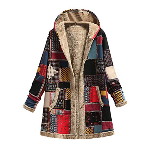 Womens Outerwear, SHOBDW Ladies Cardigan Hooded Loose Fit Composite Jacket Winter Warm Outwear Print with Pockets Vintage Coats Single Breasted Tops Blouse(#1 Red,5XL)