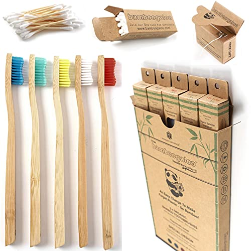 BAMBOOGALOO Organic Bamboo Toothbrushes - 5 Pack with Bamboo Cotton Buds & Dental Floss Gift. Premium UK Design, Natural Wooden Toothbrush - Medium Firm Bristles, Plastic-Free Packaging