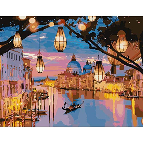Paint by Numbers, Night Venice Paint by Numbers Kits for Adults Kids Beginners 40 x 50 cm Romantic City Light Adults Paint by Numbers with Paintbrushes DIY Painting for Home Decoration Without Frame