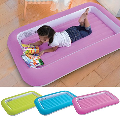 Parkland® Kid's Children's Inflatable Safety Flocked Kiddy Airbed Toddlers Camping Air Beds Soft Comfortable Fun Colourful Guest Sleepover (Pink)