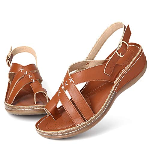 gracosy Wedge Sandals for Womens Summer Walking Sandals Platform Wedge Slippers Orthopedic Flip Flops Summer Bohemian Beach Shoes Casual Comfort Wide Fit Sandals Cushion Sole Brown 7 UK