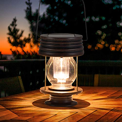 Solar Lantern Outdoor Bright Led Hanging or Table Lamp Retro Solar Light with Handle for Garden Pathway Yard Patio Decor Tree Beach Pavilion Decoration 1pack