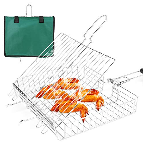 SZBYOO Stainless Steel BBQ Grill Basket with Detachable Wooden Handle,Portable Grilling Basket for Fish, Vegetable, Steak, Meat, Shrimp Chops,Come with Carry Bag,64.5 * 31 * 5.5cm