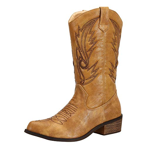 SheSole Ladies Wide Calf Western Cowgirl Cowboy Boots Tan Size 6