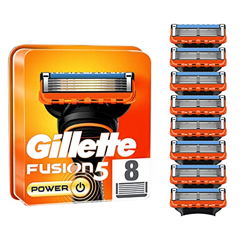 Gillette Fusion5 Power Razor Blades for Men with Precision Trimmer, Pack of 8 Refill Blades (Suitable for Mailbox)