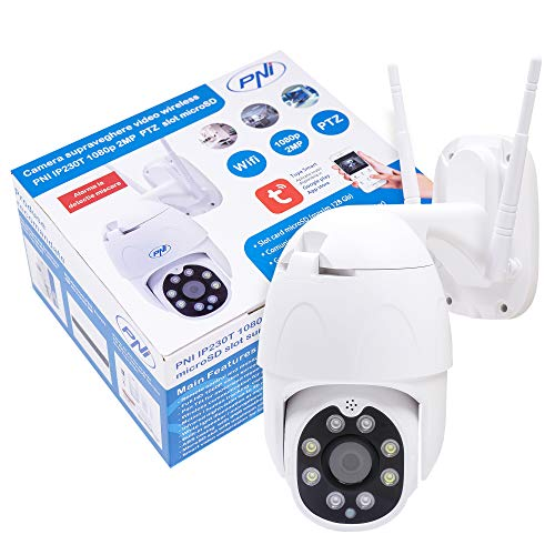 Wireless video surveillance camera PNI IP230T 1080P with PTZ H264 + supports 128GB microSD, Night Vision, Tuya application, P2P, Android, iOS, for indoor and outdoor