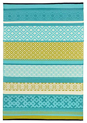 Green Decore Outdoor Reversible Plastic Rug, Recycled, Prime' Turquoise Green, 120 x 180 cm
